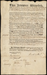Document of indenture: Servant: Barry, Hanna [Hannah]. Master: Oulton, Hannah. Town of Master: Falmouth