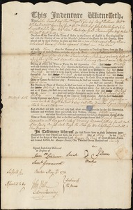 Document of indenture: Servant: Morris, Mary. Master: Dawes, Sarah. Town of Master: Boston