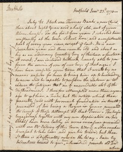 Document of indenture: Servant: Banks, Thomas. Master: Belding. Town of Master: Hatfield. Williams, William autograph letter signed to Royall Taylor, Hatfield.