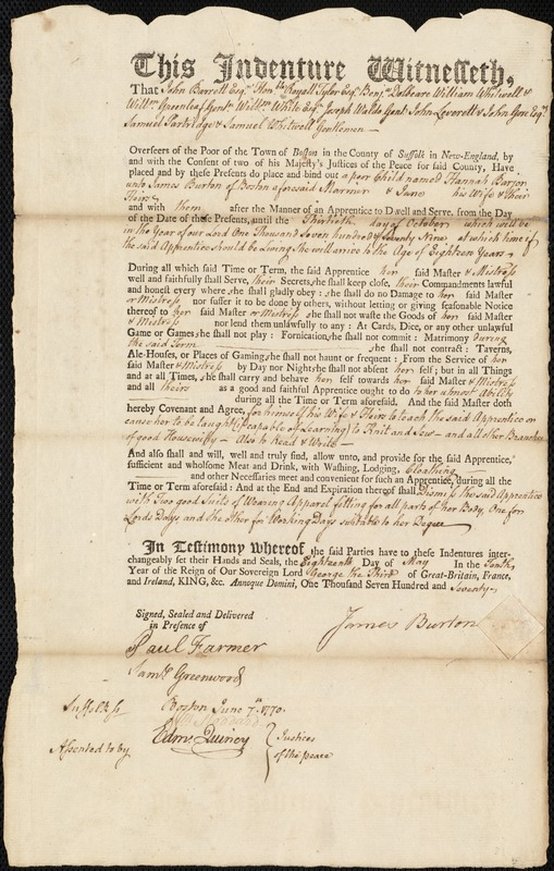 Document of indenture: Servant: Barjer, Hannah. Master: Burton, James. Town of Master: Boston