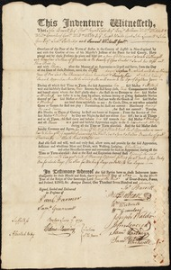 Document of indenture: Servant: Fothergill, Sarah. Master: Fellows, Cornelius. Town of Master: Gloucester