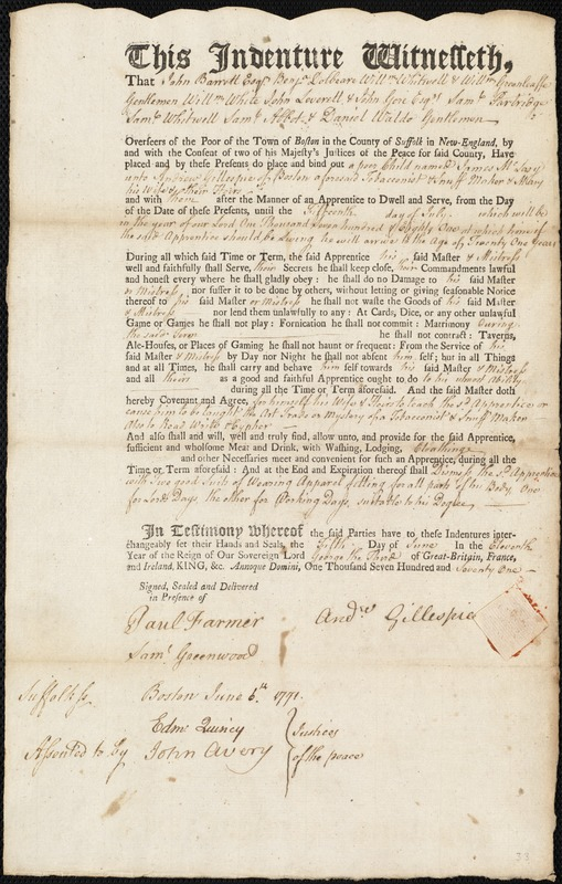 Document of indenture: Servant: McLary, James. Master: Gillespie, Andrew. Town of Master: Boston