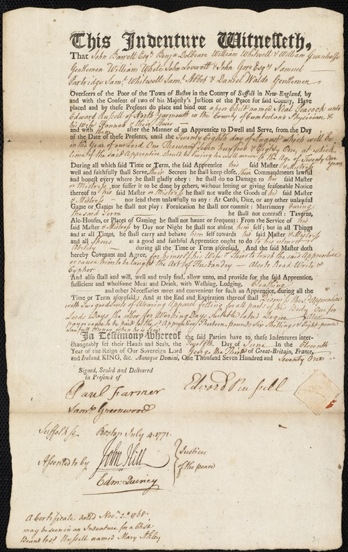Document of indenture: Servant: Peacock, Neal. Master: Russell, Edward. Town of Master: North Yarmouth