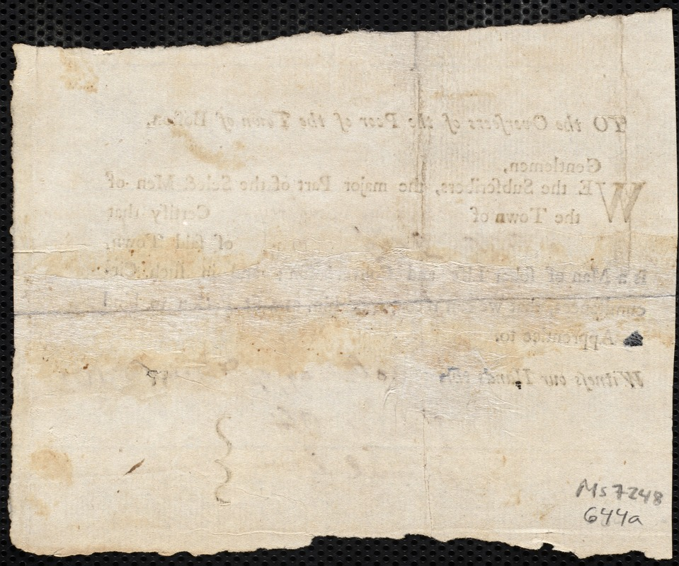 Document of indenture: Servant: Wiseaker, Jane. Master: Gary, Elisha. Town of Master: Barnstable. Selectmen of the town of Barnstable autograph document signed to the Overseers of the Poor of the town of Boston: Endorsement Certificate for Elisha Gray.