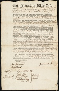 Document of indenture: Servant: Barbour, Elizabeth. Master: Balch, Jonathan. Town of Master: Boston