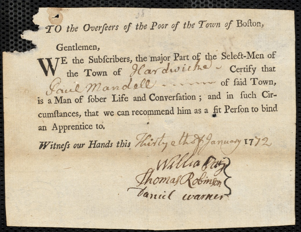 Document of indenture: Servant: Forbis, George. Master: Mandell, Paul. Town of Master: Hardwick. Selectmen of the town of Hardwick autograph document signed to the Overseers of the Poor of the town of Boston: Endorsement Certificate for Paul Mandell.