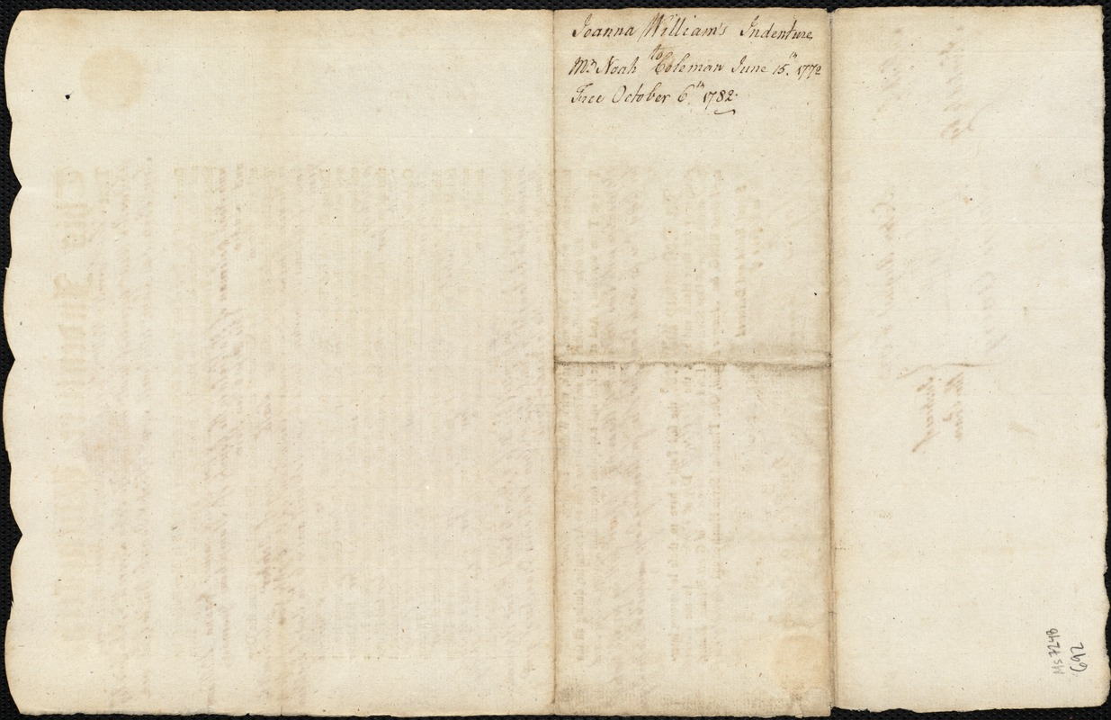 Document of indenture: Servant: Williams, Joanna. Master: Coleman, Noah. Town of Master: Hatfield. Selectmen of the town of Hatfield autograph document signed to the Overseers of the Poor of the town of Boston: Endorsement Certificate for Noah Coleman.