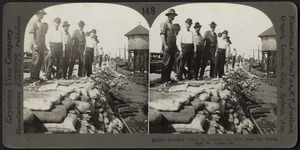 Building dikes along the Mississippi to protect East St. Louis, Illinois, from flood