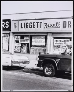 Business and shopping. Newton, MA. Liggett Rexall, West Newton