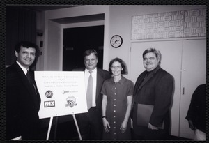 Newton Free Library, Newton, MA. PR pictures. Mayor David Cohen, Keith Fiels, Kathy Glick-Weil, Newton Free Library director