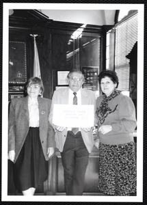 Newton Free Library, Newton, MA. PR pictures. Young Readers Day, S Abrams, Mayor Theodore Mann, Virginia A. Tashjian