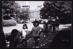 Newton Free Library, Newton, MA. PR pictures. Children arriving for library visit