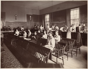 Girls High School - physical laboratory. Third year pupils at work