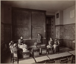 Horace Mann School, Miss Fuller & class (a day after the school's twenty-third birthday)