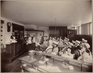 H. L. Pierce - interior - girls in home economics class