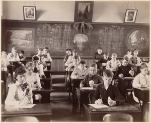 George Putnam School, Boston. Grade 9 - class 1. Observing, drawing, and describing minerals, mostly crystallized specimens. June, 1892