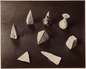 Eight examples of modelling: Clock, vase, various pointed-shaped objects (Cutler, no. 8)