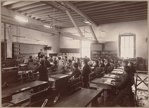 Wood-working room, North Bennet Street. Mr. Eddy giving instruction to the class.