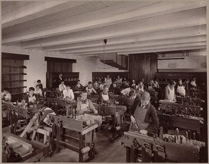 Wood-working room, with class. Henry L. Pierce School.