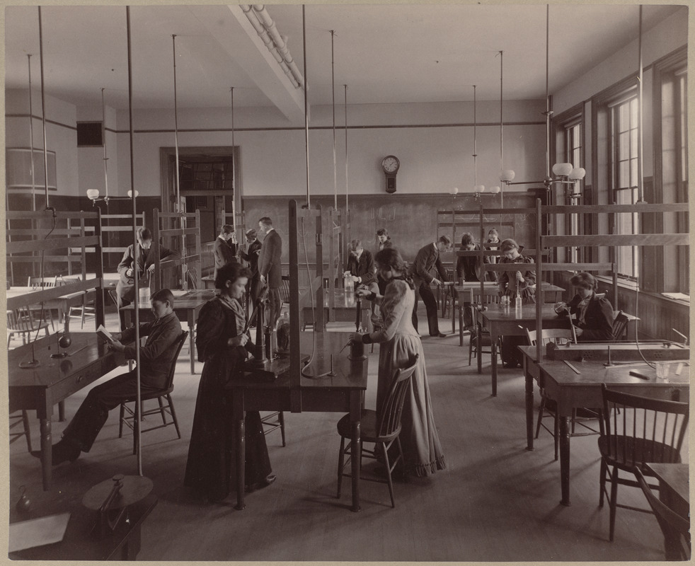 Class at work in physical laboratory.