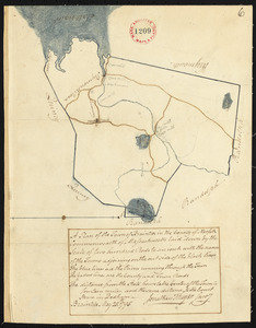 Plan of Braintree made by Jonathan Thayer, dated May 25, 1795.