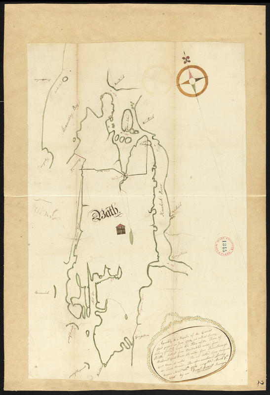 Plan of Bath, Me, made by Dummer Sewall, dated March 7, 1795.