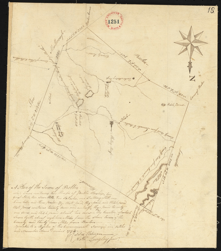 Plan of Bolton surveyed by Nathaniel Longley Jr., dated November 1794.