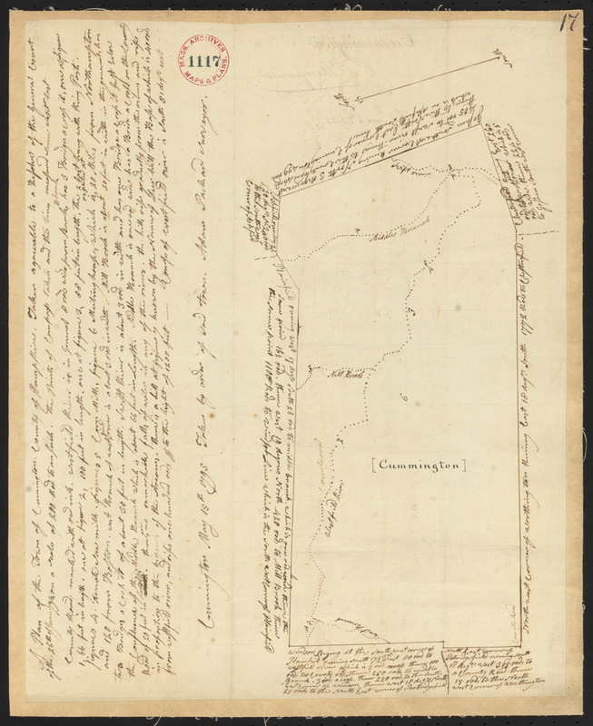 Plan of Cummington, made by Adam Packard, dated May 15, 1795.
