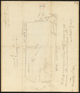 Plan of Huntington (Norwich) made by Samuel Kirkland, dated May 30, 1795.