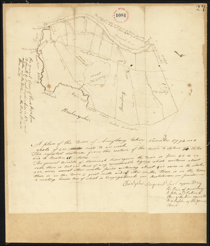 Plan of Amesbury, made by Christopher Sergent, dated November, 1794.