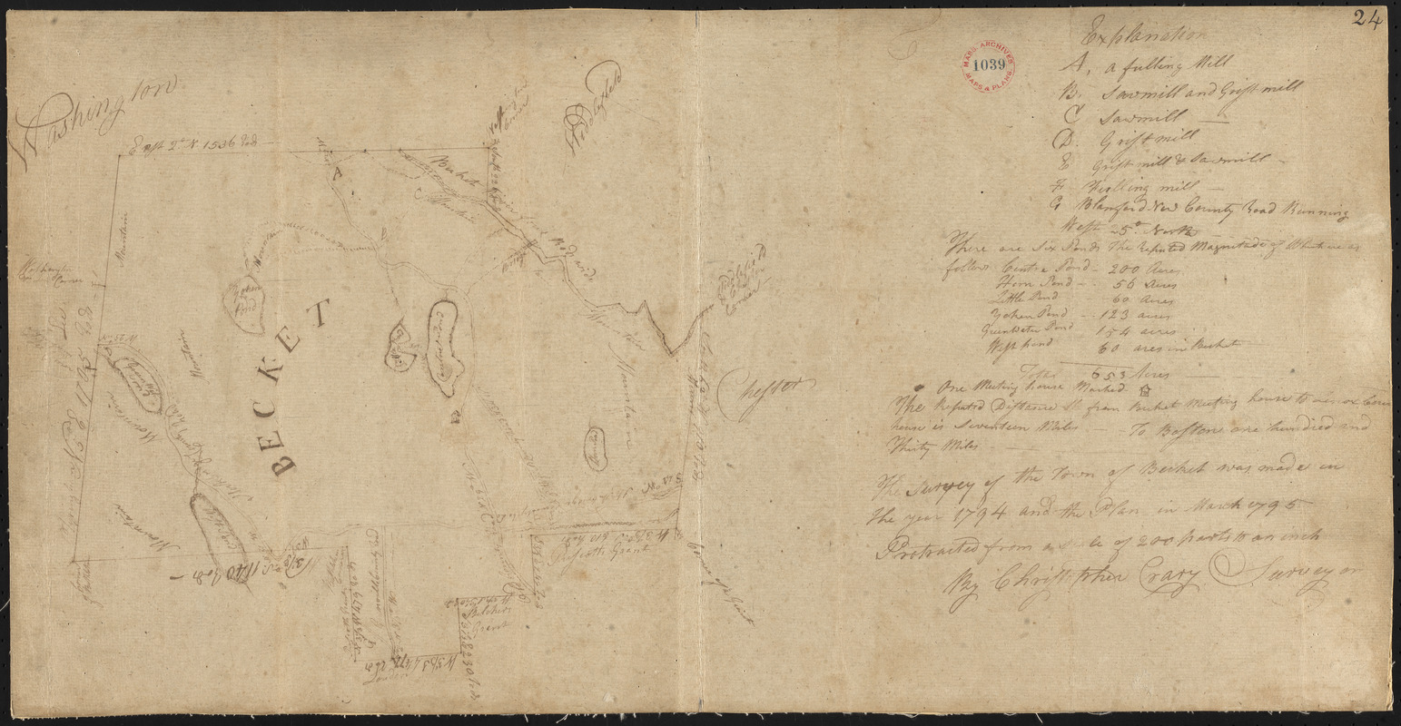 Plan of Becket surveyed by Christopher Crary, dated March, 1795.