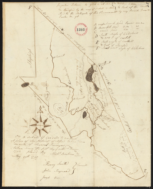 Plan of Alfred surveyed by Michel Bowden dated May 29, 1795.