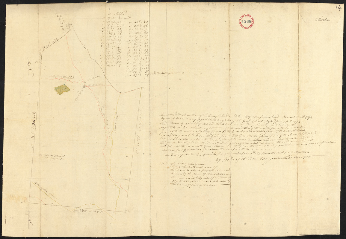Plan of Mendon made by Benjamin Read, dated November 1794.