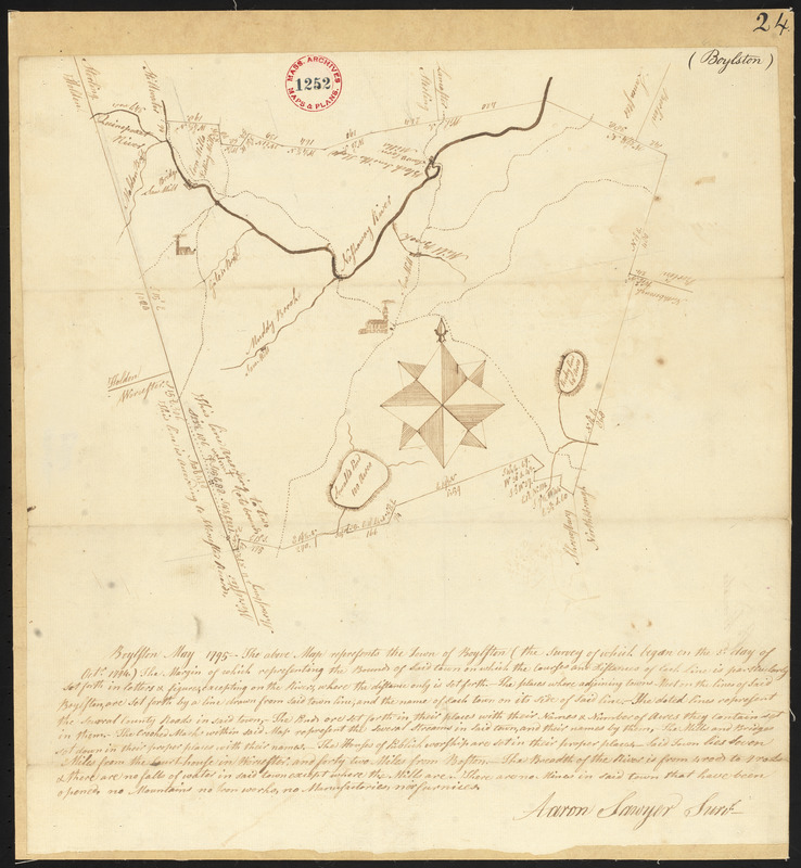 Plan of Boylston made by Aaron Sawyer, Jr. dated May, 1795.