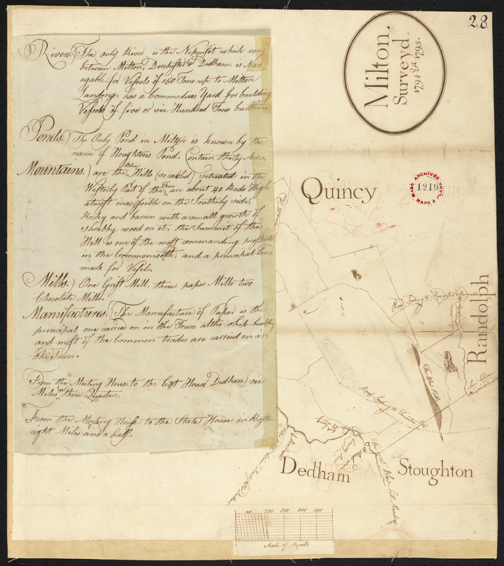 Plan of Milton, surveyor's name not given, dated 1794-5.