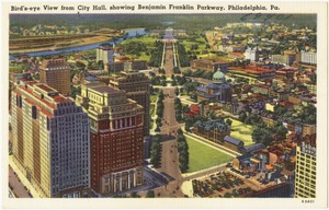 Bird's-eye view from City Hall, showing Benjamin Franklin Parkway, Philadelphia, Pa.