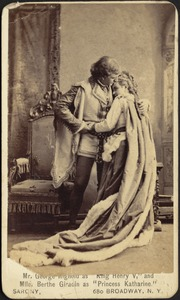 """Mr. George Rignold as """"King Henry V,"""" and Mlle. Berthe Giradin as """"Princess Katharine."""""""