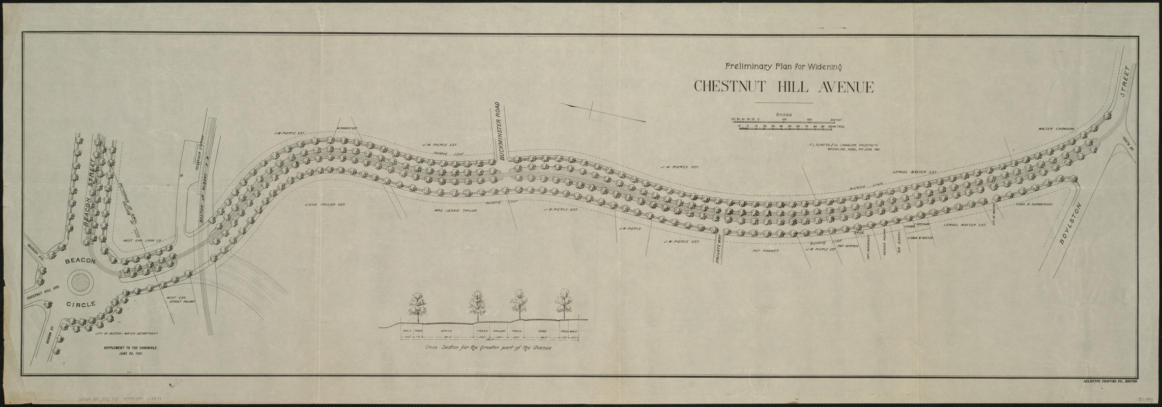 Preliminary plan for widening Chesnut Hill Avenue