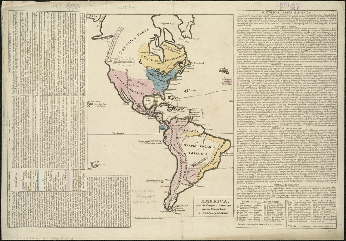 America, with the European Settlements, and the conquests of Cortes and Pizarro