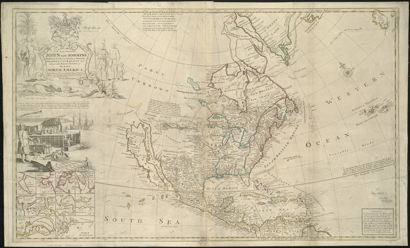 This map of North America, according to ye newest and most exact observations is most humbly dedicated by your Lordship's most humble servant Herman Moll, geographer