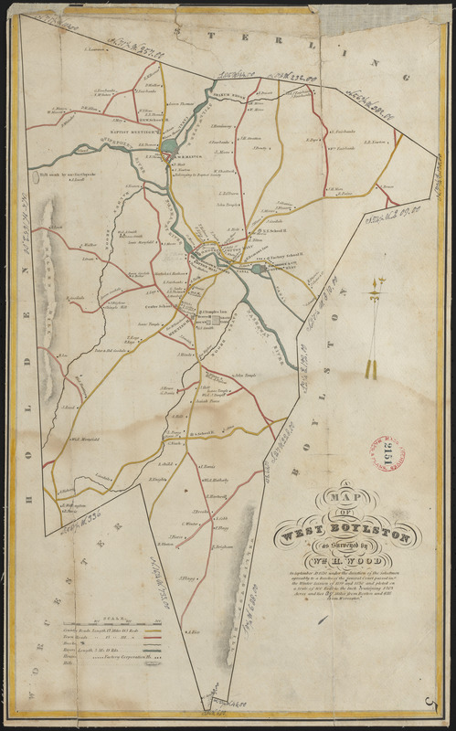 Plan of West Boylston made by William H. Wood, dated September 1830