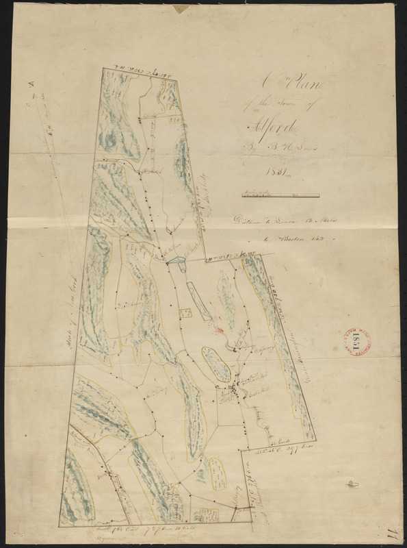 Plan of Alford made by B. H. Lewis, dated 1831