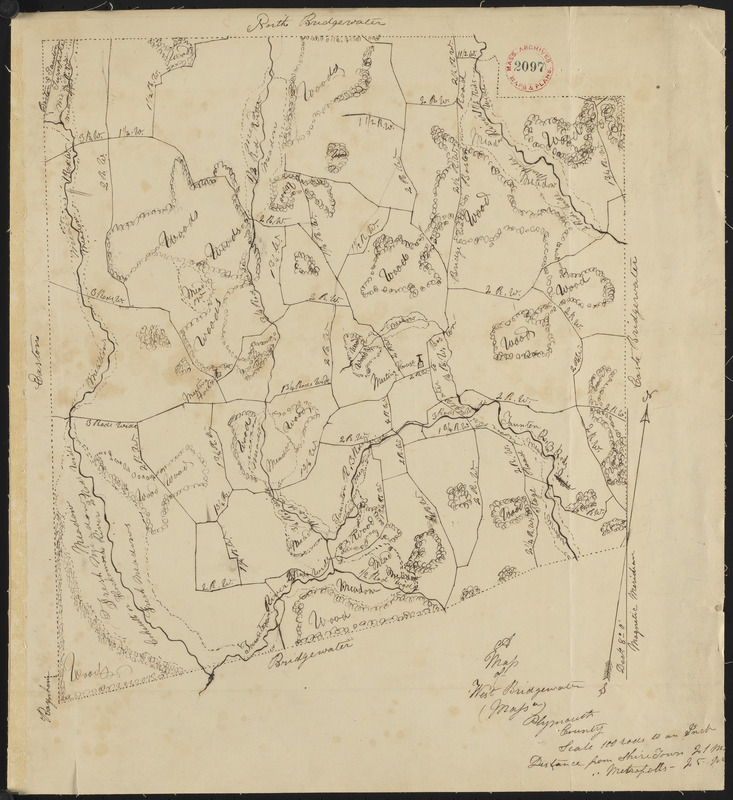 Plan of West Bridgewater, surveyor's name not given, dated 1830
