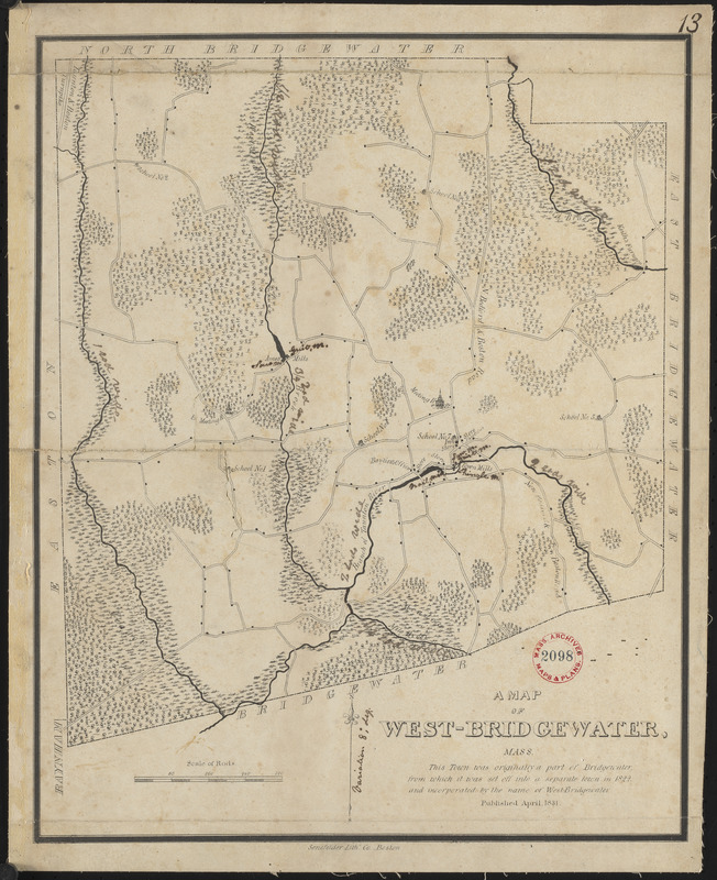 Plan of West Bridgewater, surveyor's name not given, dated 1831