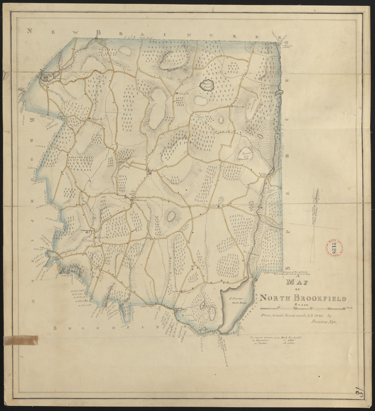 Plan of North Brookfield made by Bonum Nye, dated 1830