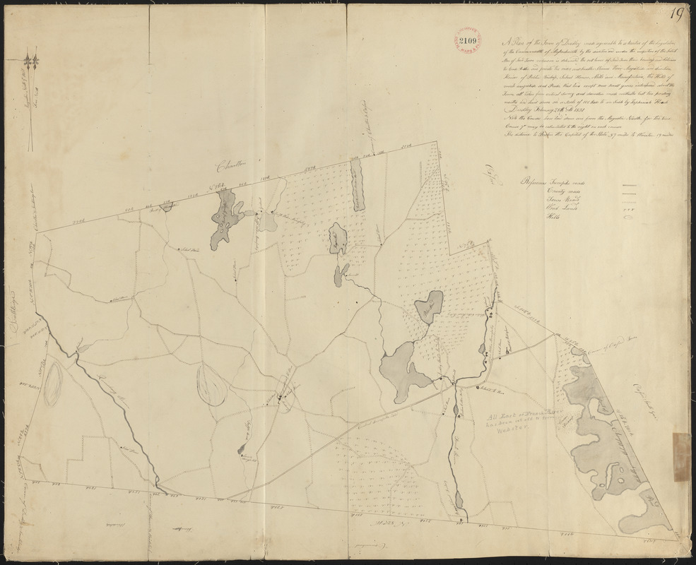 Plan of Dudley made by Zephaniah Keach, dated February 28, 1831