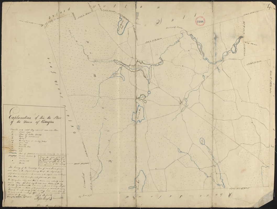 Plan of Douglas made by Warren Humes, dated October 20, 1831