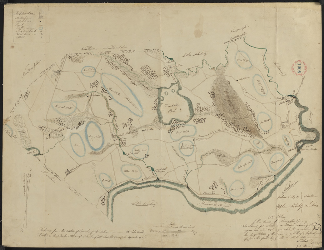 Plan of Amesbury made by W. Nichols and J. S. Morse, dated 1831