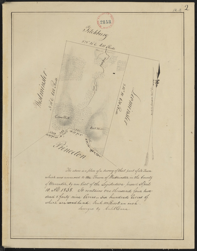 Plan of Westminster (No Town) made by Caleb Dana, dated 1838