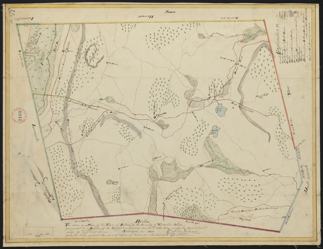 Plan of Bolton made by Silas Holman, dated 1830